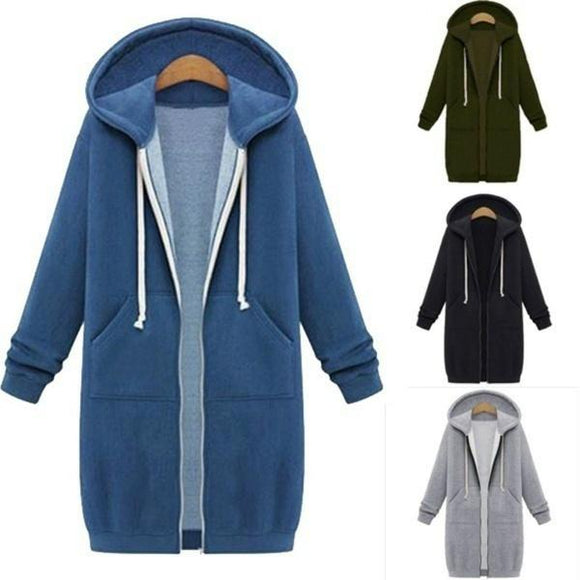 Winter Large Hooded Hoodies Women Oversize Casual Slim Sweatshirt Jas Pocket Zip Up Bovenkleding Plus Size S-5XL