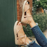 Criss Cross Straps Espadrille Shoes with Zipper Platform Sandals