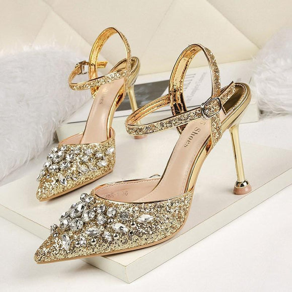 Sequined Pointed Toe Stiletto Heel Bridal Shoes with Rhinestones