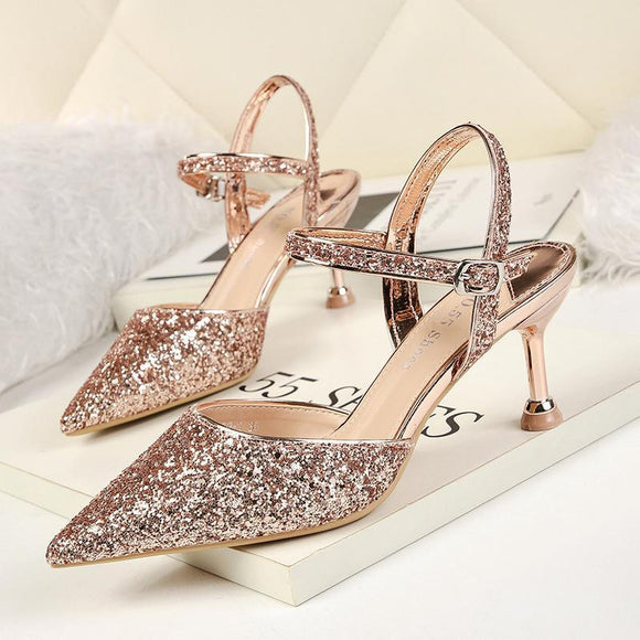 Sequined Rhinestones Pointed Toe Stiletto Heel Bridal Shoes