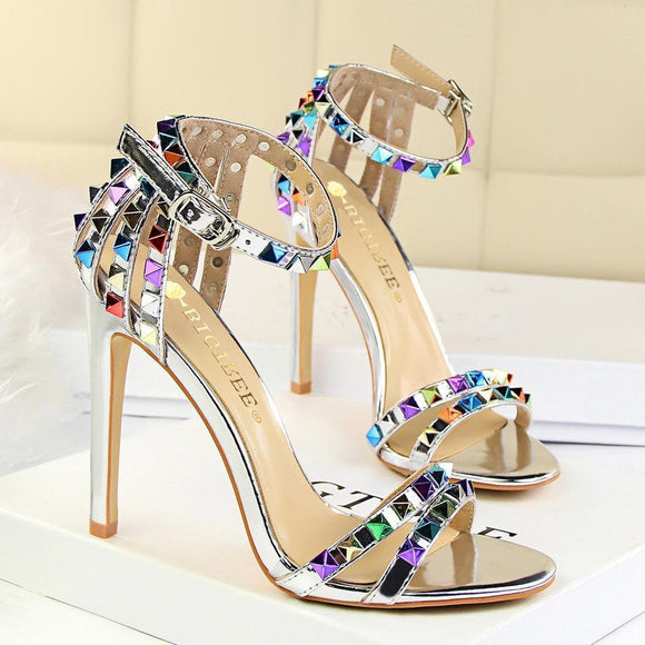 Womens High Heels Sandals with Multicolor Rivet Wedding Shoes