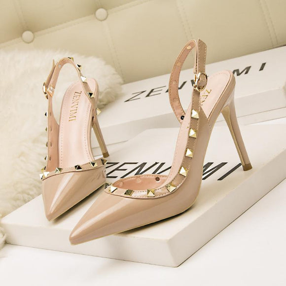 Adjustable Strap Stiletto Closed Toe Slip On Dress Heels With Rivet Party Bridal Shoes