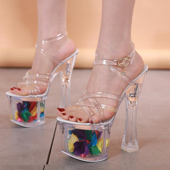 Women's Ankle Strap Peep Toe Transparent Platform Chunky heel Party Dress Sandals