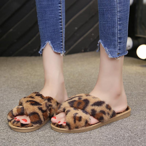 New Women's Faux Fur Open Toe Leopard Print House Slippers Fluffy Cross Band Slide