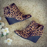 Fashion Womens Leopard Printed Round Toe Wedge Heel Zipper Closure Ankle Boots