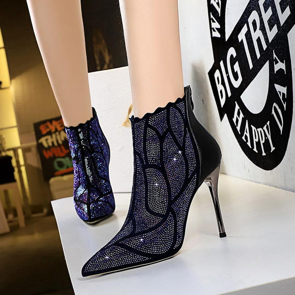 Fashion Womens Rhinestone  Pointed Toe Metal Stiletto Heel Zipper Closure Ankle Boots