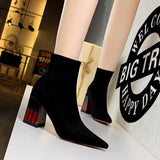 Fashion Womens Suede Pointed Toe Wood Grain Chunky Heel Ankle Boots
