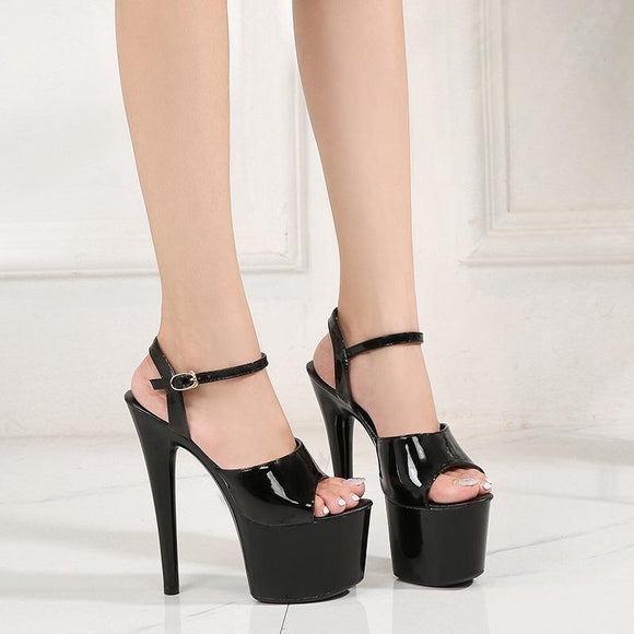 Women's Ankle Strap Peep Toe Hidden Platform Stiletto Party Dress Sandals