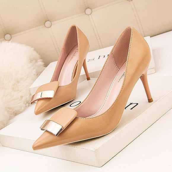 Stiletto Heel Pointed Toe Pumps High Heel Shoes With Metallic Buckle