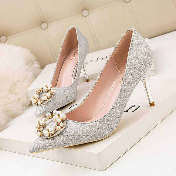 Womens Pearl Metal Buckle Pointed Toe Stiletto Heels Bridal Party Shoes