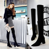 Fashion Women Stretch Suede Pointed ToeChunky Heel Over The Knee Boots With Zipper