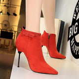 Fashion Womens Rhinestone Suede Pointed Toe Stiletto Heel Ankle Boots