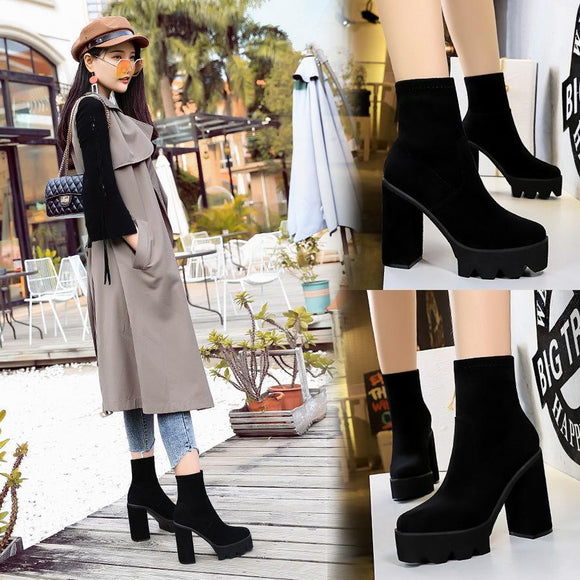 Fashion Womens Suede Pointed Toe Platform Chunky Heel Mid Calf Boots