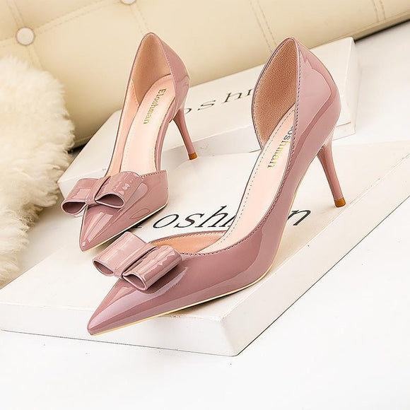 Womens Bowknot Side Cutout Pointed Toe Stiletto Heels Bridal Party Shoes