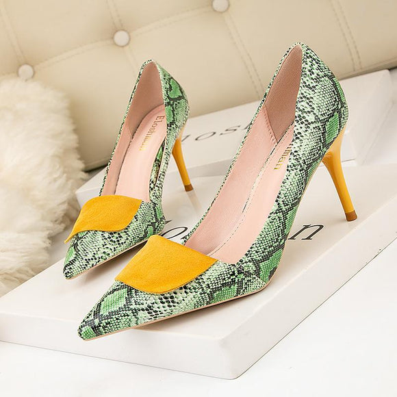 Womens Fashion Snakeskin Square Buckle Pointed Toe Stiletto Heels Party Shoes