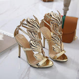 Metallic Wings Stilettos Buckle Closure Evening Party Shoes