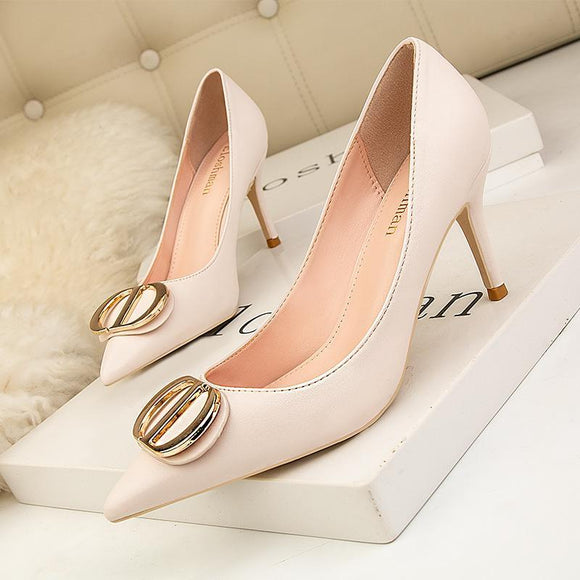 Girls Fashion Metal Buckle Pointed Toe Stiletto Heels Bridal Party Shoes