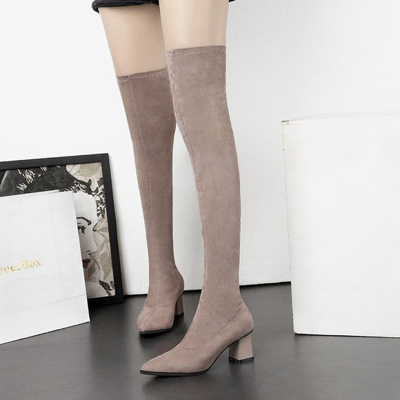 Fashion New Sueded Pointed Toe Stiletto Heel Over The Knee For Women