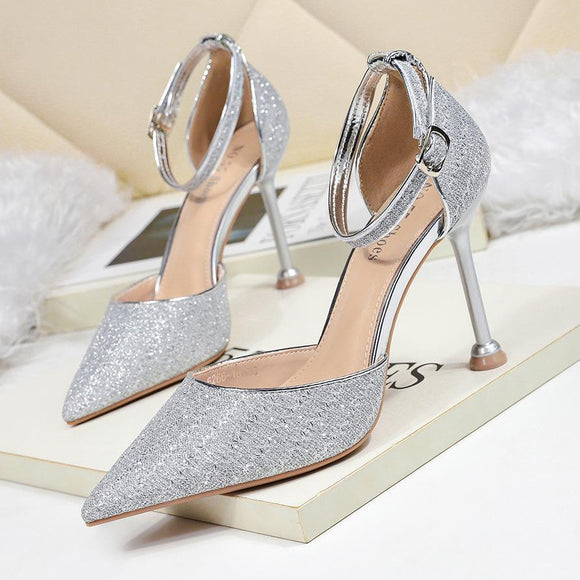 Sequined Pointed Toe Party Sandals Stiletto Heel Bridal Shoes