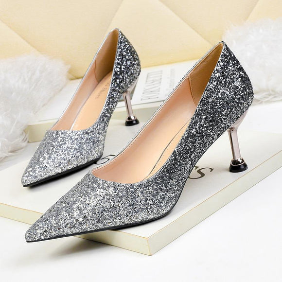 Gradient Ramp Sequined Rhinestones Pointed Toe Stiletto Heel Bridal Shoes