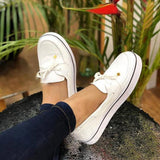 Bowknot Slip-On Round Toe Platform PU Loafers