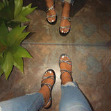 Criss Cross Straps Flat Sandals with Rhinestone