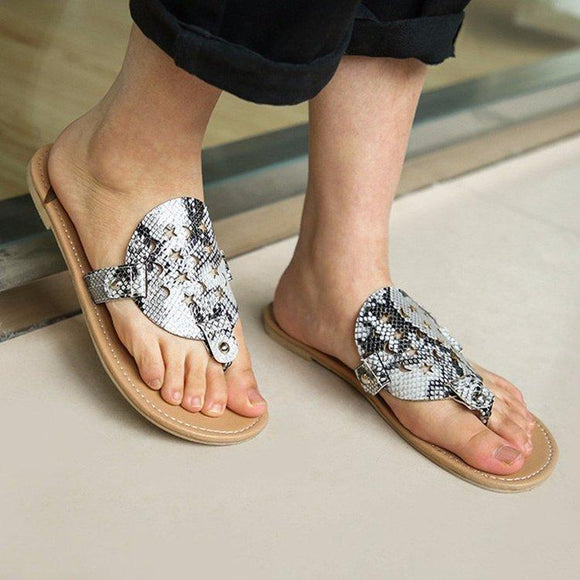 Snakeskin Print Hollow Star Pattern Flip Flops Flat Slides Shoes