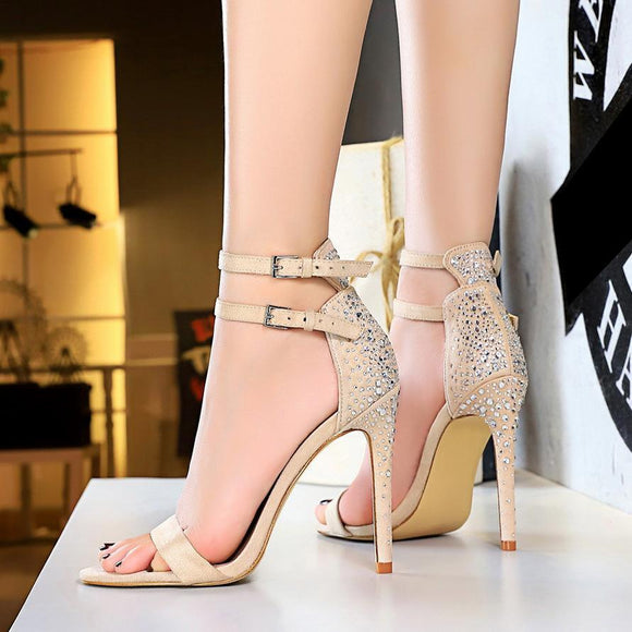 Suede Stiletto Heel Sandals with Rhinestone Wedding Bridal Shoes