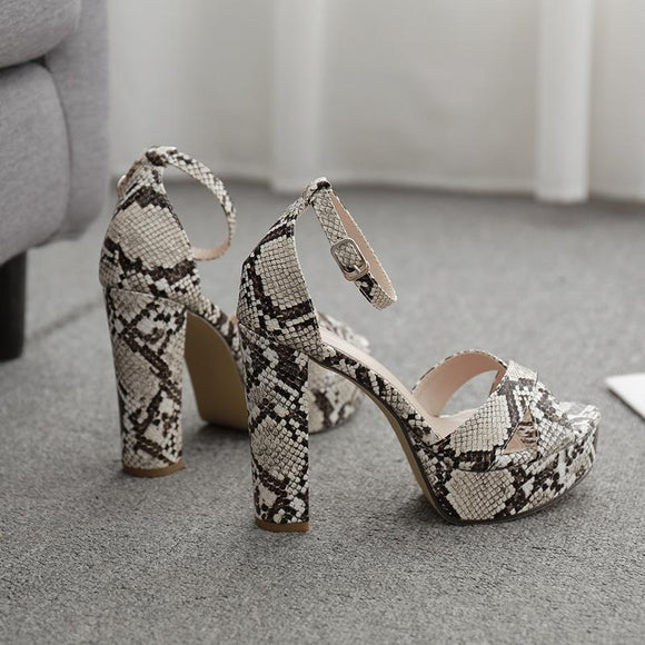 Snake Printed Straps Chunky High Heel Sandals With Ankle Buckle Closure