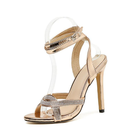 Rhinestone Stilettos Roman Bridal Sandals With Buckle Closure