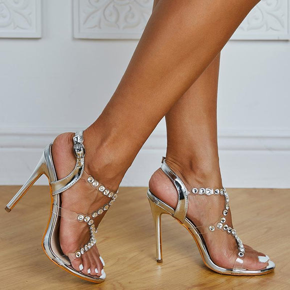 Transparent Rhinestone Stilettos Buckle Closure Bridal Heels