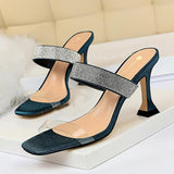 Transparent Straps Chunky Heel Slides Shoes with Rhinestones