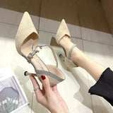 Shiny Strap Ankle Buckle Closure Pointed Toe Stiletto Heel Bridal Party Shoes