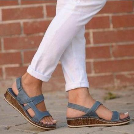 Open Toe Wedge Sandals with Velcro
