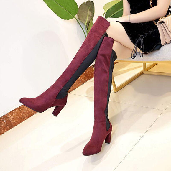 Fashion Color Block Chunky Heel Over The Knee Boots