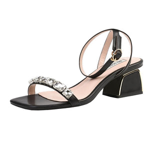 Rhinestone Ankle Strap Buckle Closure Open Toe Chunky Heel Sandals Bridal Shoes