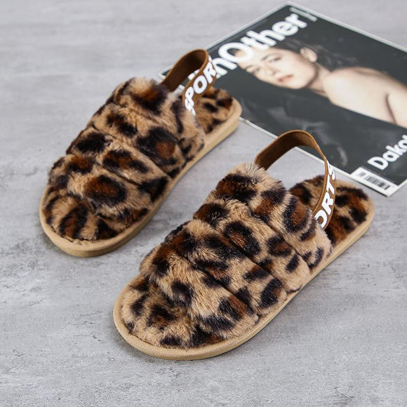 New Women's Faux Fur Open Toe Leopard Print House Slippers Fluffy Slide Anti-Skid Sole