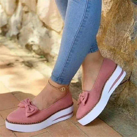 Suede Pointed Toe Bowknot Loafers Platform Shoes