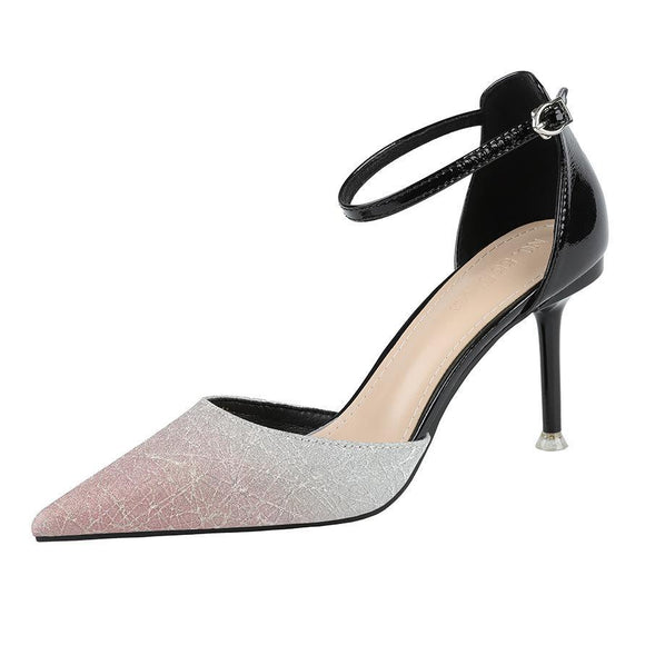 Gradient Color Pointed Toe Stiletto Heel Bridal Shoes with Buckle