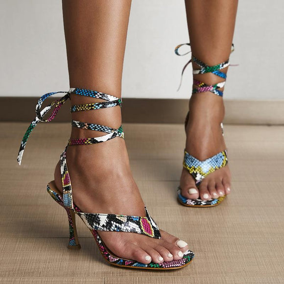Colorful Snake Printed Clip Toe Cross Bandage Strap Gladiator Sandals