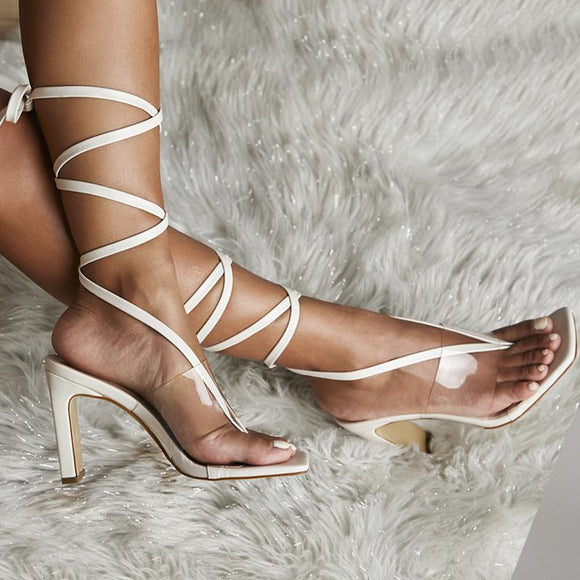 Clear Lace Up Strappy Gladiator Stilettos Square Toe Dress Sandals
