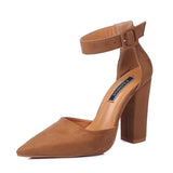 New Womens Suede Pointed Toe Chunky Heel With Buckle Closure