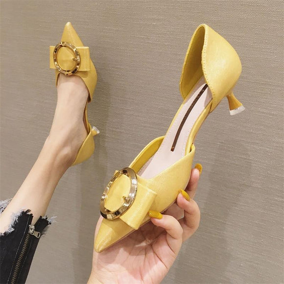 Girls Metal Button Solid Suede Pointed Toe Kitten Heel Shoes