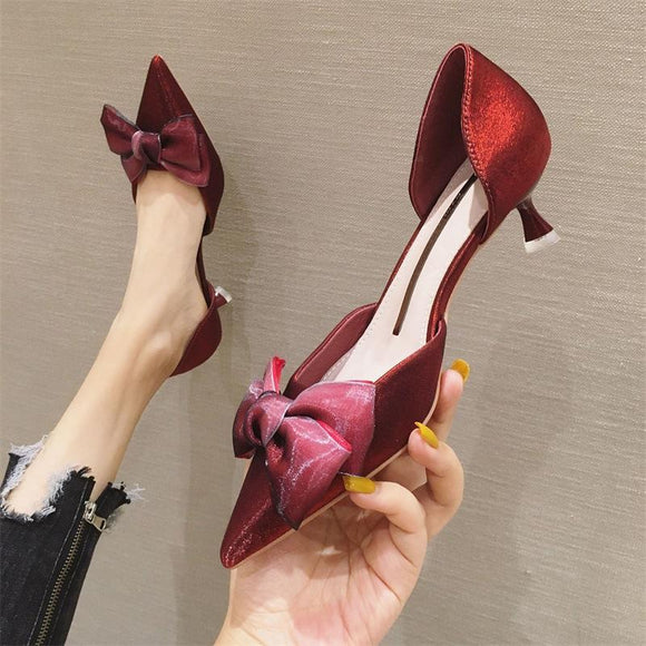 Girls Solid Suede Bowknot Pointed Toe Kitten Heel Shoes