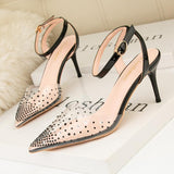 Clear Pvc Rhinestone Pointed Toe Ankle Buckle Stilettos Sandals