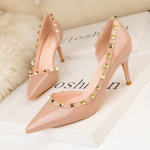 Stiletto Closed Toe Slip On Rivet Party Bridal Shoes