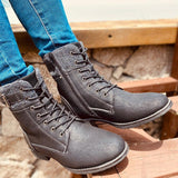 Fashion Autumn Winter Zipper Martin Boots Lace-up Mid Calf Boots