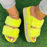 Women's Family Faux Fur Slippers Comfy Open Toe Two Band Slides with Rubber Sole