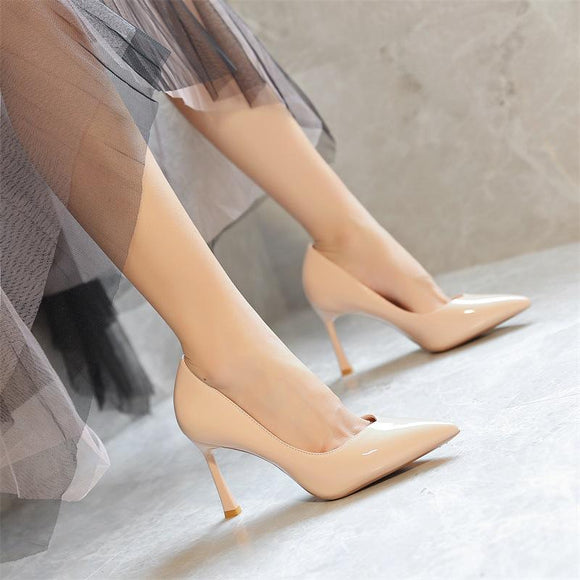 Womens Solid Pointed Toe Stiletto Heel Pump Party Shoes
