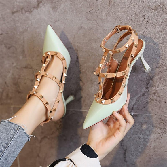 Womens Strappy Color Block Pointed Toe Stiletto Heel Party Shoes With Rivet